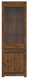 Black Red White Kada Glass-Door Cabinet Brown Oak 204x69x45cm