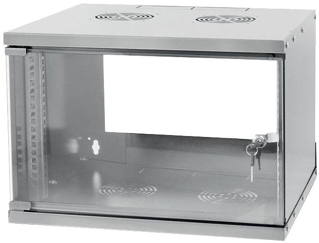 Techly Wallmount Cabinet ECO 19'' 6U/320 mm Glass Door Assembled Grey