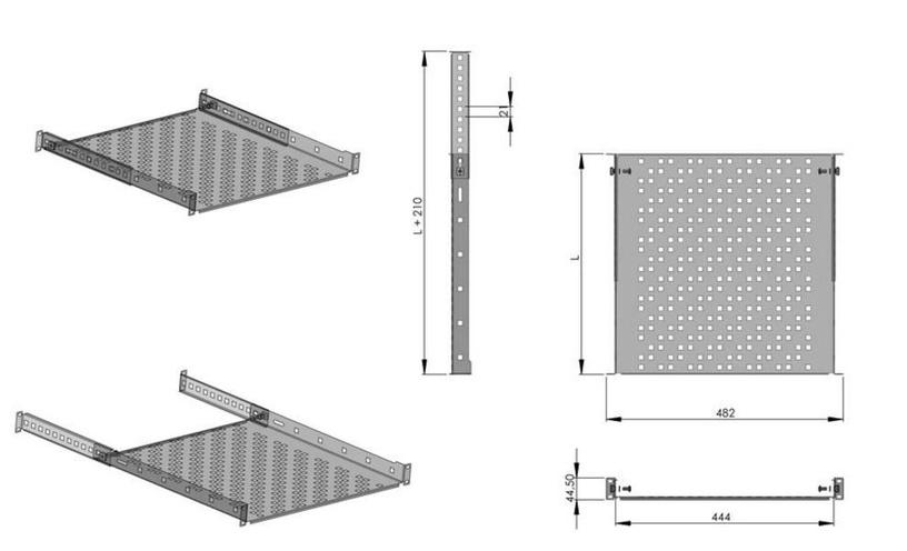 Netrack Equipment Shelf 19 '' 1U / 300mm Black