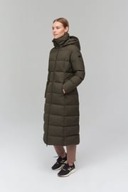 Audimas Long Puffer Down Coat Black Olive XS