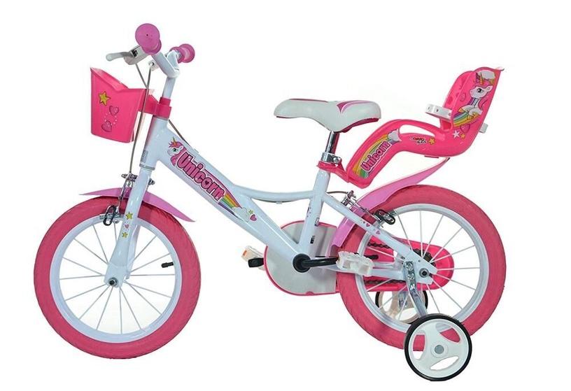 """Vaikiškas dviratis Dino Bikes 144R-UN 2021, baltas/rožinis, 14"""""""