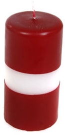 Verners Cylinder Candle 6x12cm Red/White