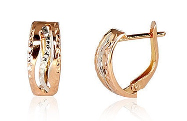 Diamond Sky 14K Red Gold Earrings Golden Wave Solid Gold 585