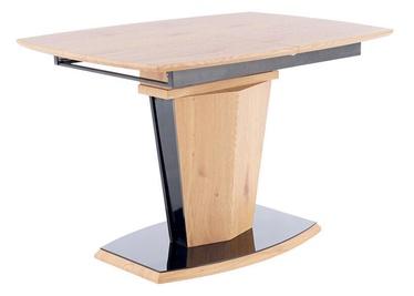 Обеденный стол Signal Meble Houston, черный/дубовый, 1600x800x760мм