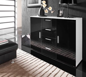 Cama Meble Uni Chest Of Drawers White/Black Gloss