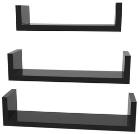 Songmics Wall Shelf Set Black 3pcs
