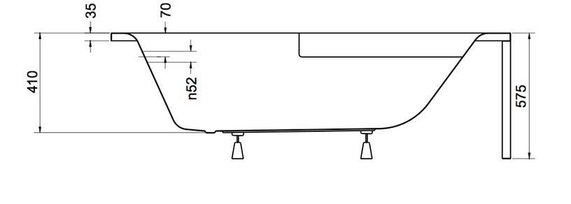 Vonia Besco Piramida Cornea, 140x80x55 cm, akrilas, dešininė