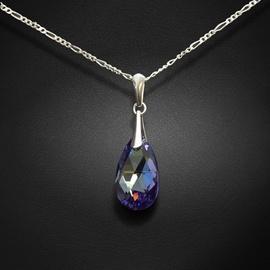 Diamond Sky Pendant Baroque Tanzanite AB With Crystals From Swarovski