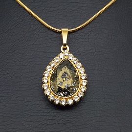 Diamond Sky Pendant Celestial Drop Gold Patina With Swarovski Crystals