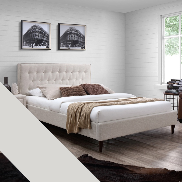 Home4you Emilia Bed Beige + Harmony Delux 160x200