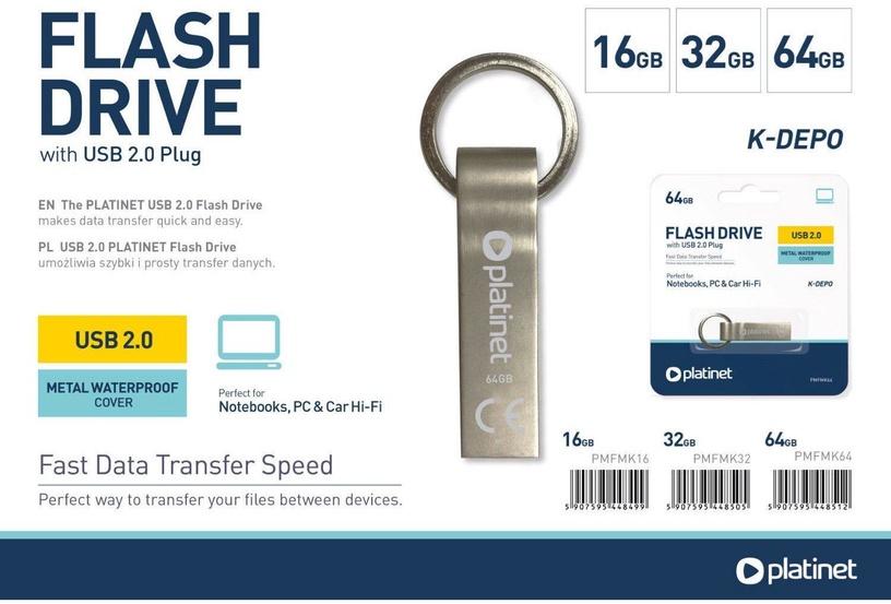 USB atmintinė Platinet K-Depo Metal, USB 2.0, 64 GB
