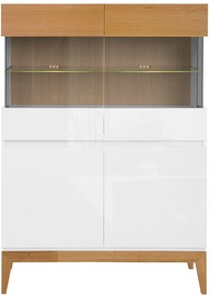 Black Red White Kioto Glass Cabinet Natural Oak/White