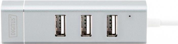 USB-разветвитель (USB-hub) Digitus USB Type-C 3-Port HUB + Fast Ethernet LAN DA-70253