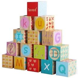 Klucīši Iwood Wooden Stamping Blocks Alphabet, 15 gab.