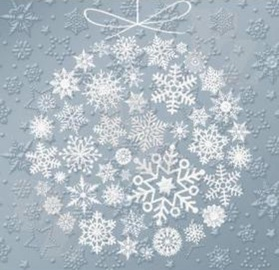 Paw Decor Collection Frozen Baubles White Napkins 33x33cm