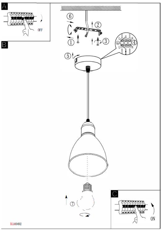 Griestu lampa Eglo Priddy 1 49492 E27, 60 W
