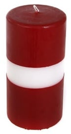 Verners Cylinder Candle 10x20cm Red/White