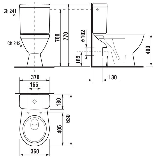 Tualete Jika Lyra Plus H8263860002421, 360 mm x 630 mm