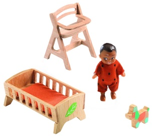 Djeco Dolls House Sweeties Room Baby With Accessories