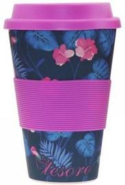 Tesoro 100% Eco Bamboo Fibre Mug With Silicone 480ml Flower Violet