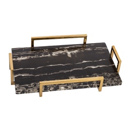 Home4you Kappa Marmor Tray 40x25x7cm Black/Gold