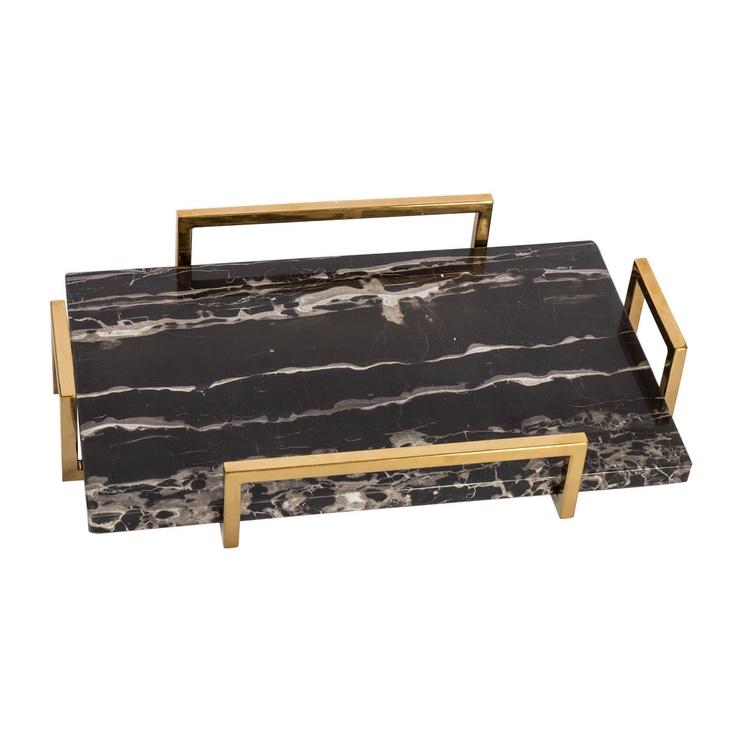 Home4you Kappa Marmor Tray 40x25x7cm Black/Gold