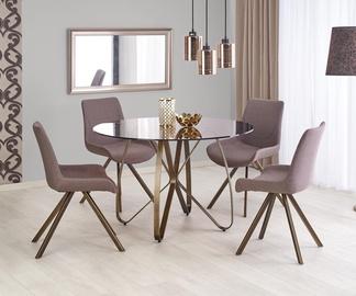 Valgomojo stalas Lungo, ruda / auksinė