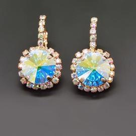Diamond Sky Earrings With Crystals From Swarowski Klaris VII Aurore Boreale