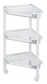 Plast Team Triangular Trolley With 3 Baskets 38.5x26x15/68cm White