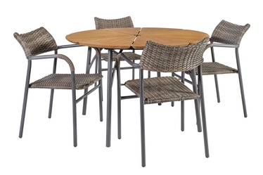 Home4you Greenwood Table And 4 Chairs Set Grey