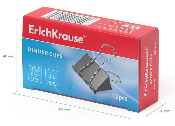 ErichKrause Binder Clips Black 19mm 12pcs