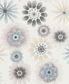 Tapetas flizelino pagrindu Rasch 701302 Selection Papier, gelsvas su spalvotomis gėlėmis