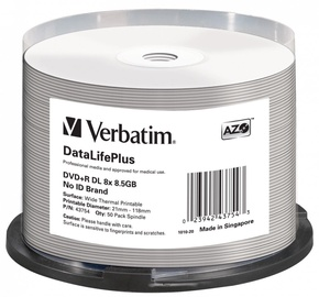 Накопитель данных Verbatim 50x 8.5GB DVD+R 8x 43754