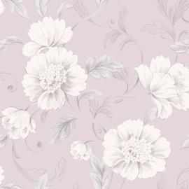 Tapetas popierinis Rasch 226171 Italian Elegance, rausvas su baltomis gėlėmis