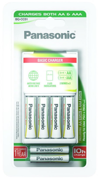 Elementu lādētājs Panasonic Basic Charger 4xAA + 2xAAA