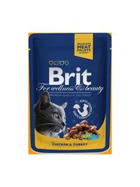 Konservuotas ėdalas katėms Brit Premium Chicken & Turkey, 100 g
