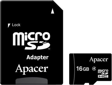 Apacer 16GB MicroSDHC Class 4 + Adapter AP16GMCSH4-R