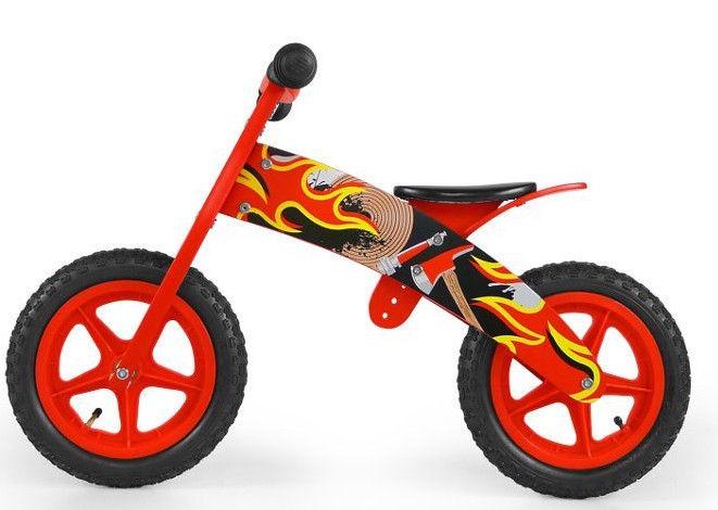 Vaikiškas dviratis Milly Mally FLIP Wooden Balance Bike Fireman Red 1506