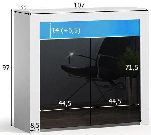 Kumode Pro Meble Milano PKC 2D With Light Black/White, 107x35x97 cm