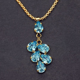 Diamond Sky Pendant Amber II Aquamarine Blue With Swarovski Crystals