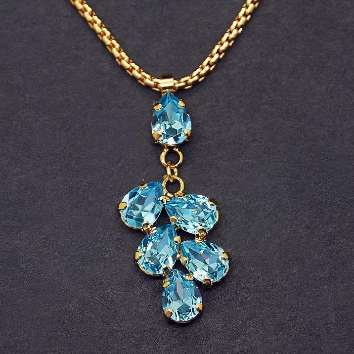 Diamond Sky Pendant Amber II Aquamarine Blue With Swarovski Crystals