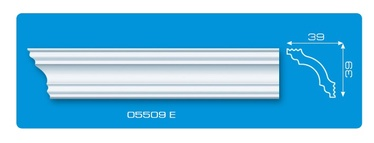 Lubų apdailos juostelės 05509 E, balta, 200 x 3.9 cm