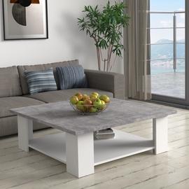 Kafijas galdiņš Forte, balta/pelēka, 900x900x310 mm