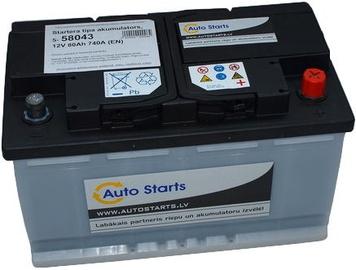 Аккумулятор Auto Starts, 12 В, 80 Ач, 720 а