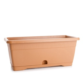 PlastiCotto Versilia Flower Pot With Plate 100cm Brown