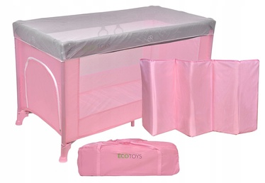 EcoToys Rocking Travel Cot with Mosquito Net Pink
