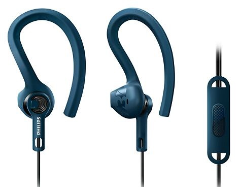 Philips ActionFit Sports Headphones w/Mic SHQ1405 Blue