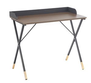 Halmar B-37 Table Walnut/Black/Gold