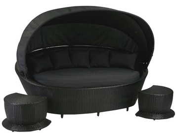 Home4you Muse Sofa w/ Canopy And 2 Foot Stools Black
