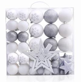 Eglutės žaisliukas DecoKing Lux White/Silver, 76 vnt.